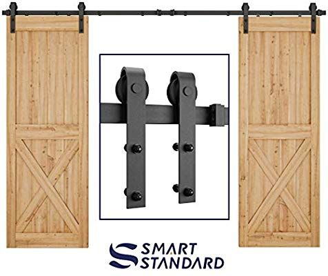 Smartstandard 10ft Heavy Duty Double Gate Sliding Barn Door Hardware Kit Black 10 Two Track Rail Sliding Door Hardware Barn Door Sliding Barn Door Hardware
