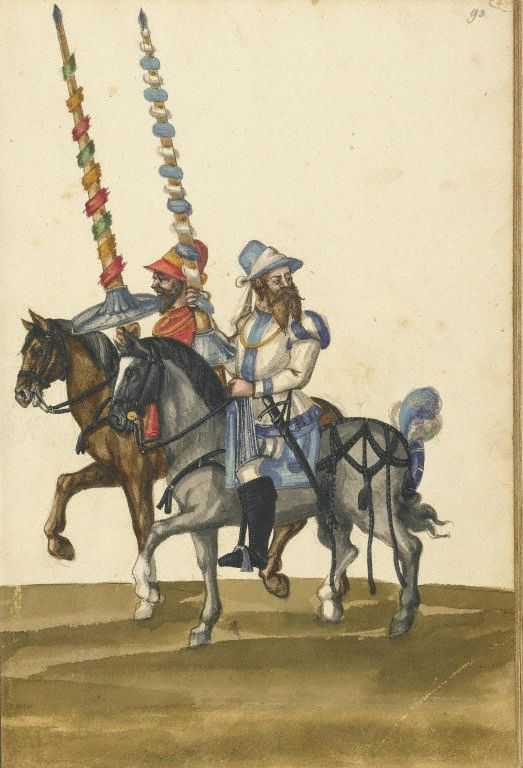 Unknown, illuminator , Two Horsemen with Lances.  German, about 1560 - 1570  Leaf: 43 x 28.9 cm (16 15/16 x 11 3/8 in.), 83.MR.184.47