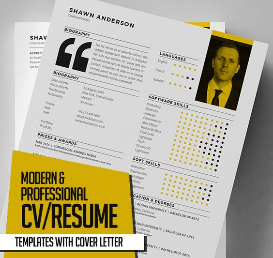 New Modern CV   Resume Templates with Cover Letter Mock Up - modern resumes templates