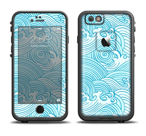 The Seamless Blue Waves Apple iPhone 6/6s Plus LifeProof Fre Case Skin Set from DesignSkinz