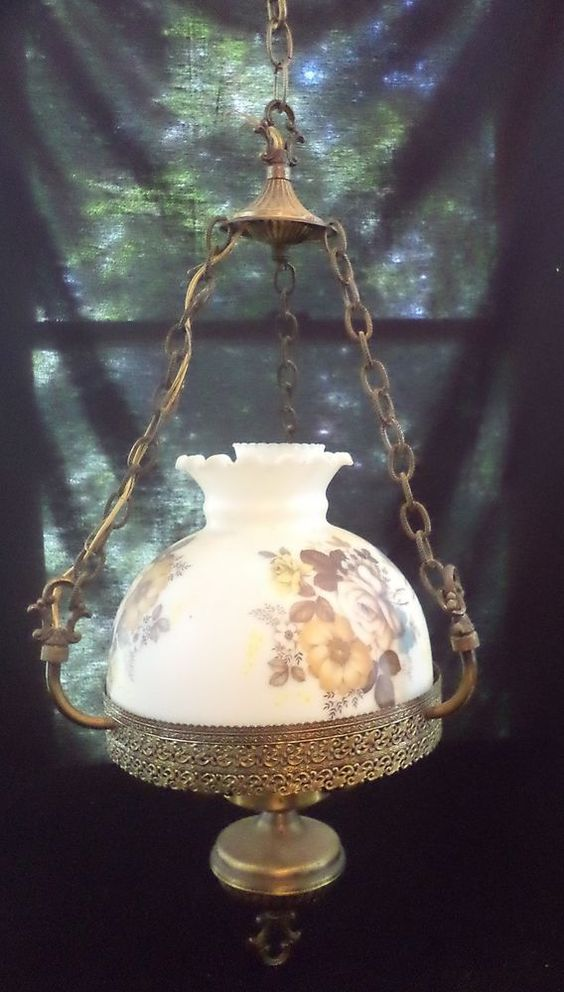Vintage Hanging Ceiling Light Fixture Hurricane Lamp