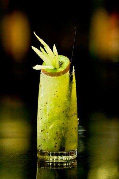 Kicu with peppermint tea infused vodka, cucumber, kiwi, coriander, and pineapple juice