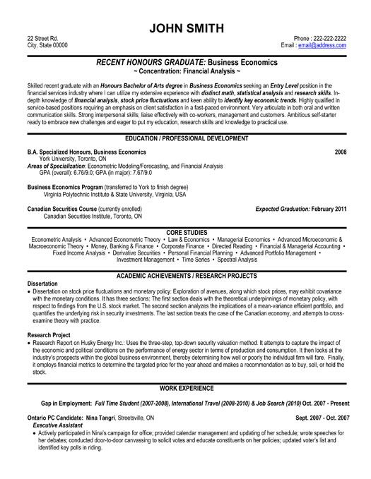 graduate financial analyst CV example click to see the PDF version - financial analyst resume example