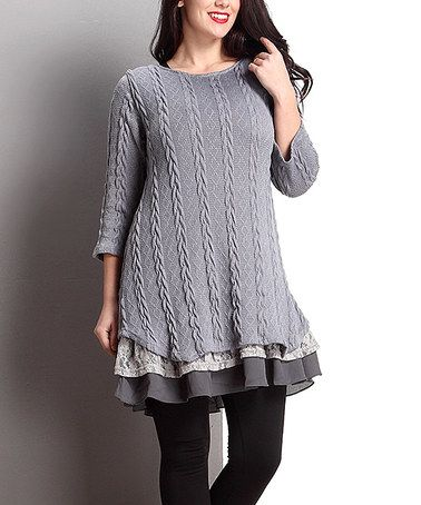 Another great find on #zulily! Gray Cable-Knit Scoop Neck Ruffle-Hem Tunic - Plus #zulilyfinds