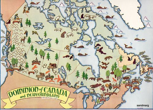 1931 Pictorial Map of Canada and Newfoundland