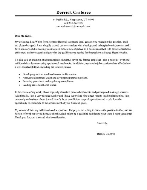 sample analyst cover letters