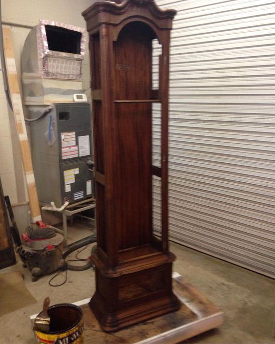 Disassembled and refinishing a grandfather clock this week at work.  Trick on these is figuring out what shows and what won't be seen.  I decided just to stain the whole thing inside and out just to be safe. It will go into clear coat on Monday. #woodgrain #woodwork #woodart #woodshop #woodworking de johnbenzwoodcraft