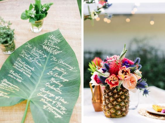 Moodboard tropical exotic wedding - Inspiration mariage tropical exotique - Ananas et feuille de palmier - Leaf and pineapple