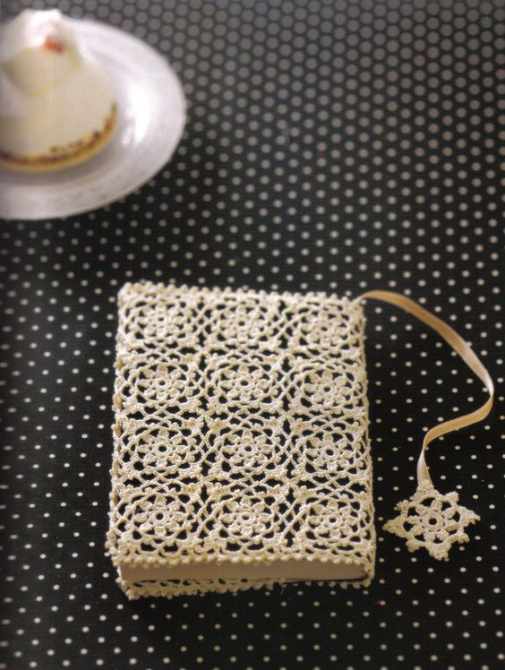 Book Cover Crochet Recipe : Crochet lace motif book cover haken pinterest