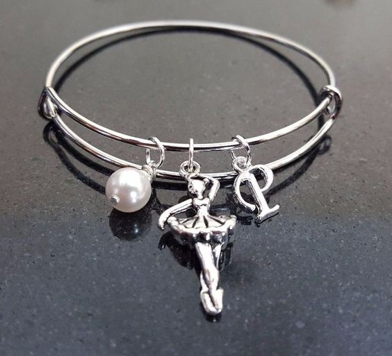 Ballerina Bangle Bracelet, Adjustable Silver Bangle Swarovski Pearl Ballet Tutu  #Handmade