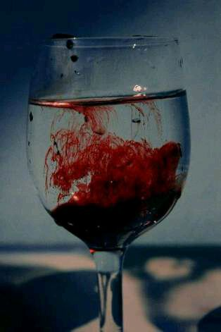 Blood< why does it have to look so pretty when it's blood pouring into water? That's like against the rules: