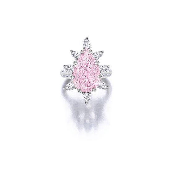 Very Fine Fancy Intense Purple-Pink Diamond and Diamond Ring
