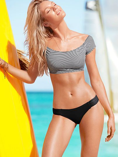 Cropped Top shown with ruched hipkini bottom #victoriassecret