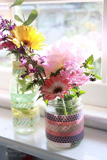 decorate jars with washi tape