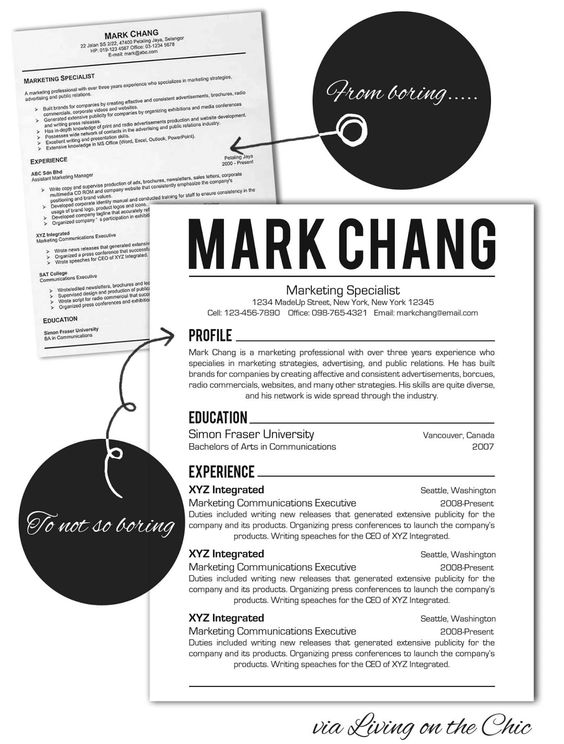 Custom two-page resume template - Color circle initials School