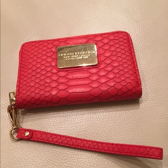 Armani Exchange Wrislet Red, Leopard texture, 3 card slots, 2 pockets Armani Exchange Bags Clutches & Wristlets