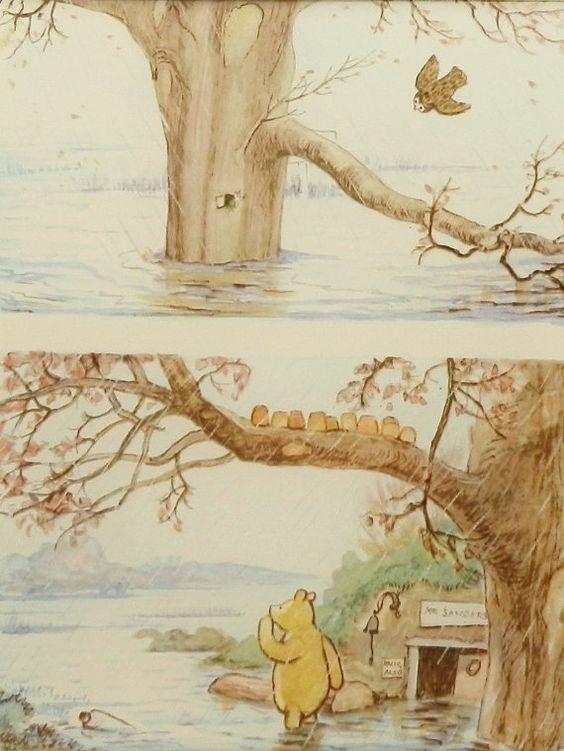 It rained rained w mat print vintage classic winnie for Classic pooh nursery mural