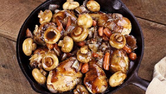 Vinegar-Braised Chicken and Mushrooms--so delicious!