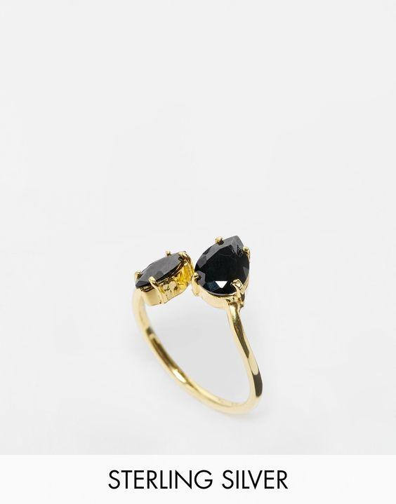 ASOS – Premium – Ring mit offenen, gedrehten Enden aus vergoldetem Sterlingsilber