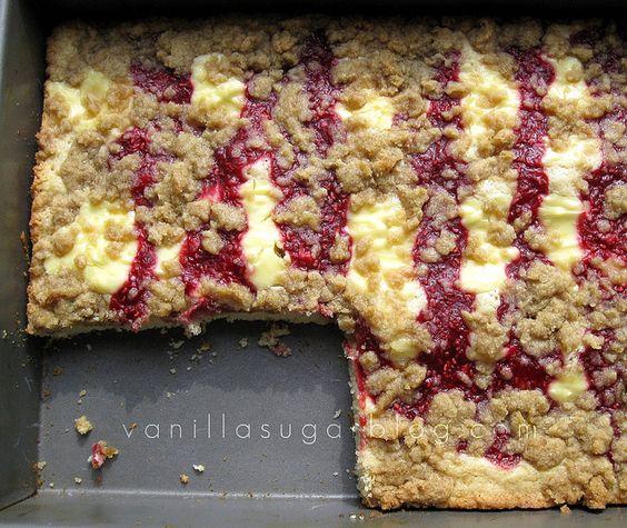 raspberry cream cheese crumb cake...will try this summer with fresh raspberries.