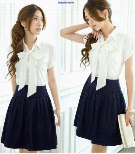 Womens New TOP NEW KOREAN JAPAN VINTAGE WHITE BLUE OFFICE DRESS ...
