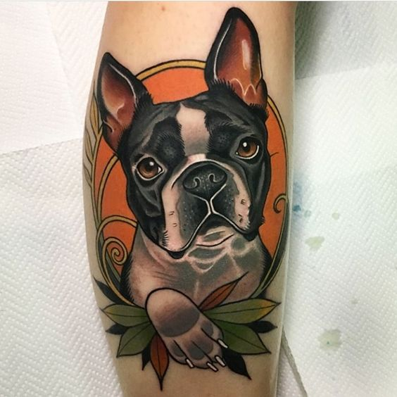 Neo Traditional Boston Terrier Portrait Tattoo Done By Our Artist Andre Vasquez Call Us Today 351 Traditional Tattoo Dog Dog Tattoos Dog Portrait Tattoo