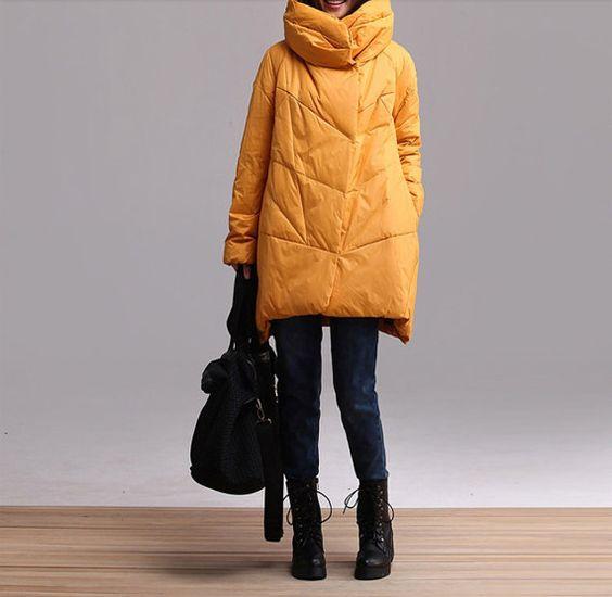 Asymmetrical down jacket coat women coat women cotton-padded