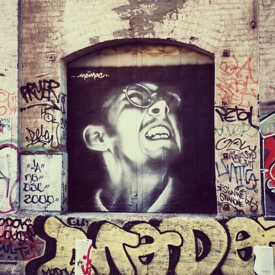 Throwback. Painted this self portrait in 2000 in downtown Los Angeles. No wheatpaste, no stencils, just hard work! #elmac #unitetoinspire    mac _ arte, artist