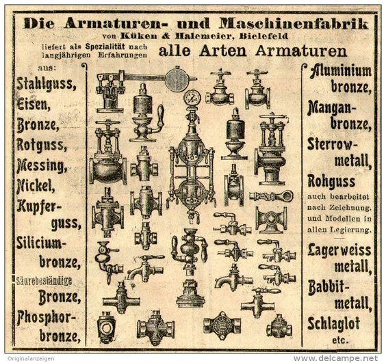 Original-Werbung/ Anzeige 1905 : ARMATUREN / KÜKEN & HALEMEIER BIELEFELD - ca. 100 x 90 mm