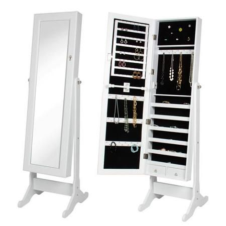 White Mirrored Jewelry Cabinet Amoire w Stand Mirror Rings, Necklaces, Bracelets to keep my self organized.
