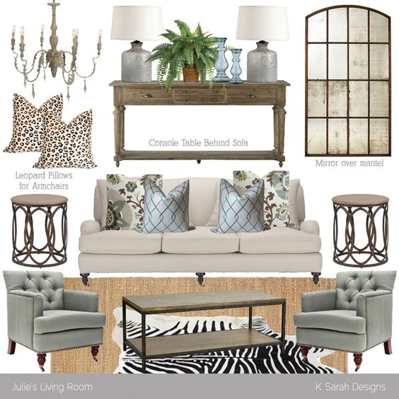Mood Board // Neutral Rustic Glam Living Room: