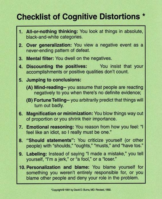 Checklist of Cognitive Distortions ~ David D. Burns, M.D.