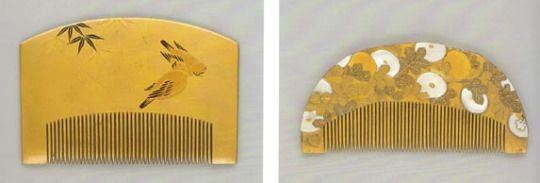 Japanese lacquered wooden combs nineteenth century Paris, Musée Guimet