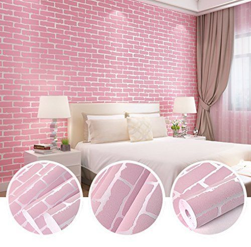 3d Adhesive Brick Pink Wallpaper Modern Bright Diy Project Peel Stick Furniture Nsunforest Cou Baby Nursery Wall Decor Pink Wallpaper Modern Home Living Room