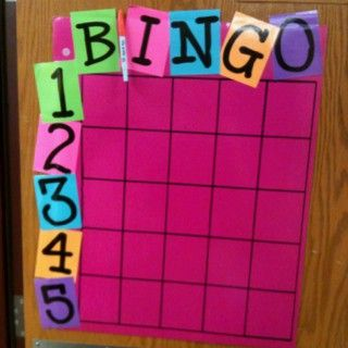 BINGO board. When a kid is doing what he/she is supposed to be doing and  I catch him/her, that student then gets to sign his/her name in a box.  At the end of the day, I roll a dice for the letter and the number. The  student gets a simple reward. - Good Behavior Management!