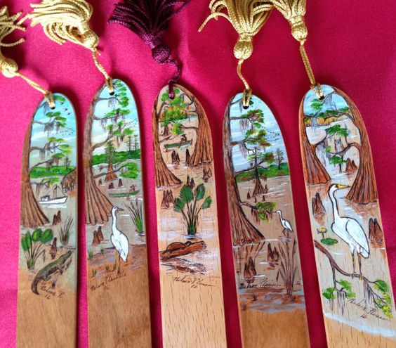 Swamp Scenes on Bookmarks on Cherry and Maple