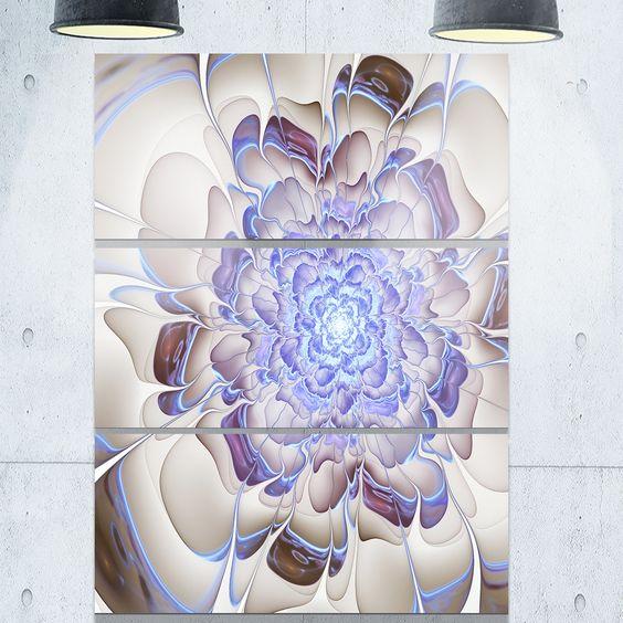 Fractal Flower in Light Digital Art - Floral Glossy Metal Wall Art