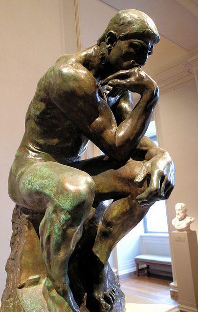 Titel: De Denker   kunstenaar: Auguste Rodin   datum: 1881   Materiaal: brons   museum: Rodinmuseum, Parijs   stroming: Post-impressionisme