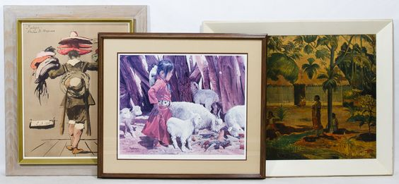"Lot 778: Framed Print Assortment; Three items including a Ray Swanson ""Playing with the Kids"" limited edition print #412/500, a reproduction Paul Gauguin print and a ""Hat Seller"" print"
