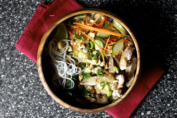 cold rice noodles with peanut lime chicken by smitten, via Flickr