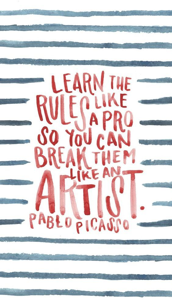 Pablo Picasso inspiring quote. Learn the rules like a pro so you can break them like an artist. #quote #encouragement #fortheartist #pablopicasso