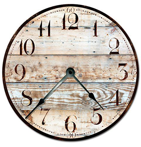 Rustic Tan Wood Clock Extra Large 15 5 To 16 Wall Clock Decorative Round Wall Clock Printed Wood Image Review Wall Clock Clock Wood Clocks