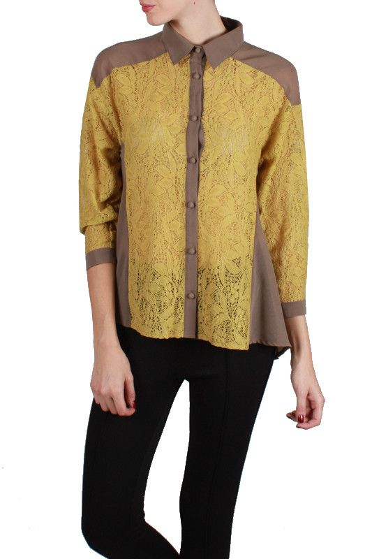 Button Down Collared Blouse with Lace Detailed Center
