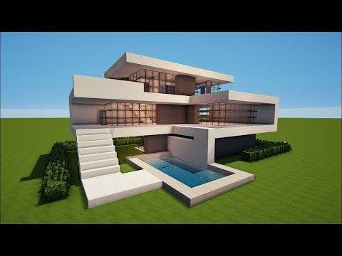 Minecraft How To Build A Modern House Best House Tutorial Modern Minecraft Houses Minecraft House Plans Minecraft Modern