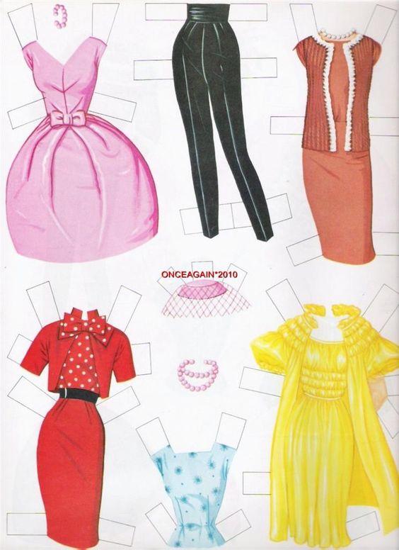 (⑅ ॣ•͈ᴗ•͈ ॣ)♡                                                            ✄1963 Barbie paper doll clothes