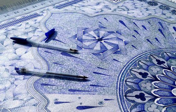 Jonathan Bréchignac, après son oeuvre Carpet With Bic Pencils nominée aux Fubiz Awards, a imaginé cette superbe création « The Blue Carpet », une création de 115 sur 73 cm réalisée au bic et présenté par la Fondation Boghossian à la Villa Empain à partir du 27 septembre. A découvrir en images dans la suite.