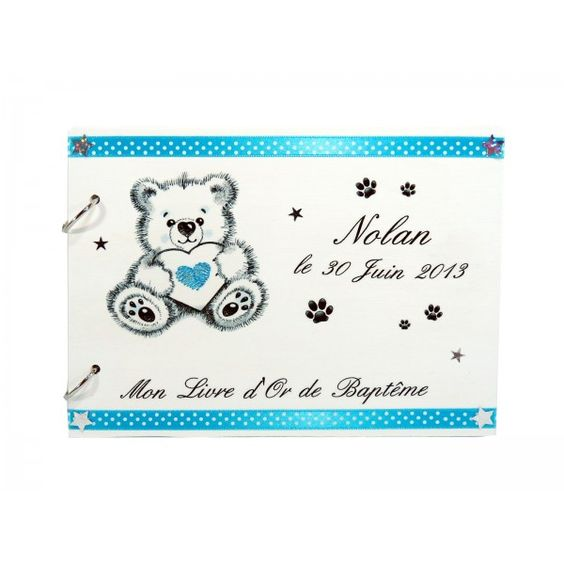 Collection bapt me gar on d co ourson blanc et bleu livre d 39 or bapteme pinterest mariage - Bapteme garcon theme ...