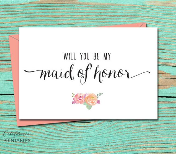 Will You be My Maid of Honor PRINTABLE CARD Maid Of Honor Print – Party Proposal