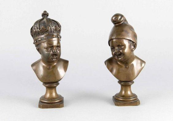 Jean Baptiste Pigalle (1714-1785), nach, das Paar eines lachenden und eines weinendenKleinkindes erg — Skulpturen, Plastiken, Installationen, Bronzen, Relief