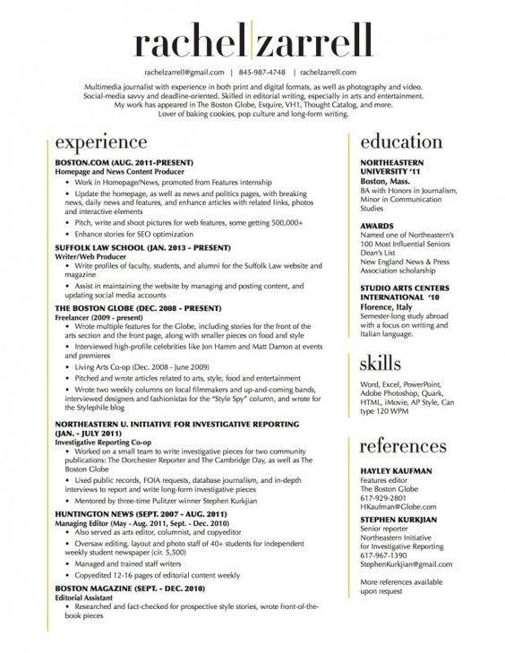 Resume layout, Resume and Layout on Pinterest